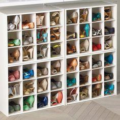 Open closet organization tips 16 super ideas Shoe Cubby, Closet Shoe Storage, Wardrobe Storage, Shoe Racks, Purse Storage, Shoe Drawer, Bag Closet, Shoe Cabinet, Shoe Box