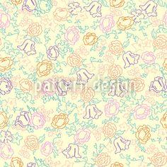 Cute Flowers designed by Viktoryia Yakubouskaya available on patterndesigns.com Flower Pattern Design, Flower Patterns, Flower Designs, Yellow Background, Vector Pattern, Surface Design, Romantic, Cute, Flowers