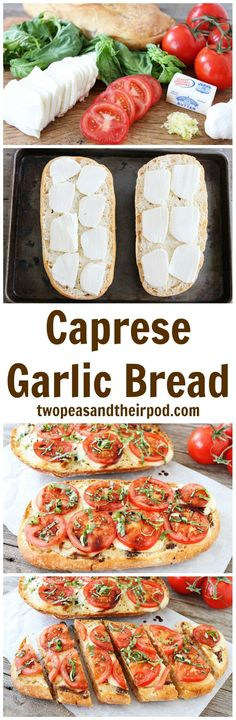 Caprese Garlic Bread Recipe on http://twopeasandtheirpod.com This is the BEST garlic bread recipe and it's so easy to make. If you like caprese salad and garlic bread, you will LOVE this one!