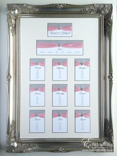 Gemma & Richard had a pink wedding theme with stationery from the Cinderella Collection including a beautiful framed table plan / seating chart!