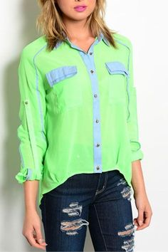 Neon Lime Sheer Button Down Top - Arrow Trends