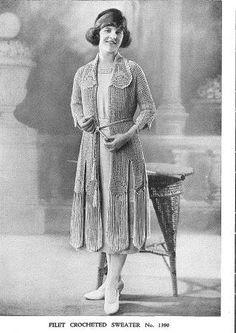 Antique crochet patterns PDF 1920s nightgowns filet by Juandah