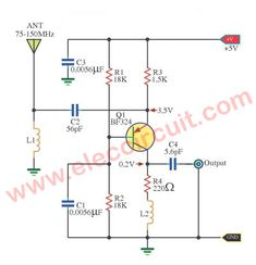 This is Wide band high frequency amplifier circuit,Wide frequency band between MHz,Using transistors to enhance signal strength FM or amateur radio Electronic Circuit Design, Electronic Kits, Electronic Engineering, Electronics Components, Electronics Projects, Electronics Basics, Arduino, Electrical Projects, Ham Radio