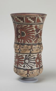 Early Intermediate, Nasca Deep jar, 200 B. 500 Ceramic with polychrome slip h. x 4 in.) Place made: South coast, Peru Ceramic Pottery, Ceramic Art, Nazca Peru, Peruvian Art, Museum Studies, Mesoamerican, Inca, Ancient Artifacts, Ancient Aliens