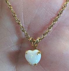 Vintage 14k Karat Plumb Gold Necklace With Fiery Opal Heart Pendant 14kp | Jewelry & Watches, Vintage & Antique Jewelry, Fine | eBay!