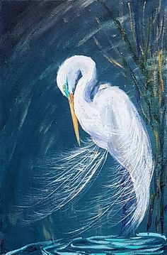 Acrylic painting on stretched canvas, picturing Great Egret. Bird Painting Acrylic, Acrylic Art, Acrylic Paintings, Silhouette Painting, Bird Artwork, Happy Art, Coastal Art, Watercolor Animals, Stretched Canvas