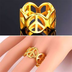 Peace Symbol Statement Ring Stainless Steel Gents/Women 18K Gold Plated Jewelry
