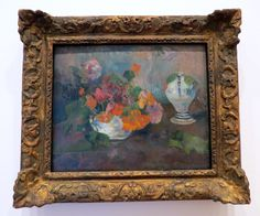 Vase with Nasturtiums and Quimper Faience 1886 oil on canvas