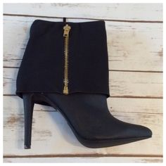 """Ankle bootie Gorgeous ankle booties!! Pointed closed-toe bootie with faux fold-over design. Gold fashion zipper on outside; functional hidden black zipper on inside for easy wear. 4.5"""" heel, faux leather. By Michael Antonio. Michael Antonio Shoes Ankle Boots & Booties"""