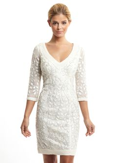 Adorable rehearsal dinner dress (Sue Wong Lace v-neck 3/4 sleeve dress $170)