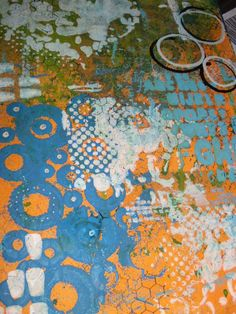 dylusions, green,orange and blues, Istencils
