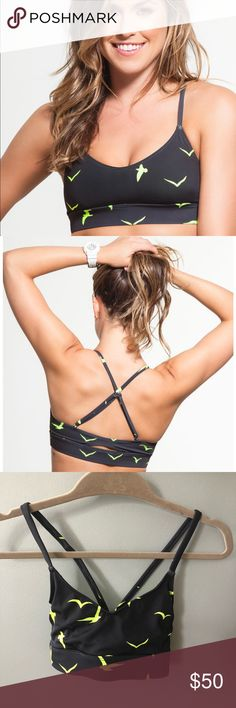 """Mara Hoffman // """"Climb A Mountain"""" Sports Bra Cross back sports bra by Mara Hoffman. The spaghetti  straps cross cross in the back for extra support and the fast wick material has UPF 50 to keep the sun at bay during those long summer runs. Bra fits true to size. Excellent condition. Worn once and washed properly. Mara Hoffman Intimates & Sleepwear Bras"""