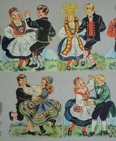 Paper Garland Banner Folk Dancers Norway Dryer Trykk Mittet Festival c1950s
