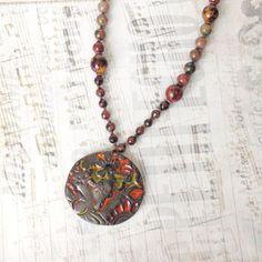 Womans Beaded Necklace Wild Buffalo Pendant Necklace Hippie
