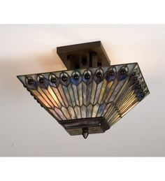 16 Inch L Jeweled Peacock Oblong Flushmount Ceiling Fixture