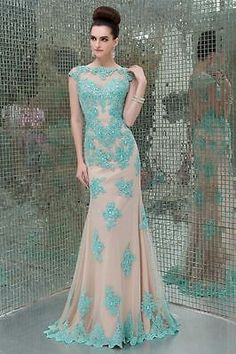 2014 New Lace Applique Long Pageant Evening Prom dress Ball Bridal Party Gown