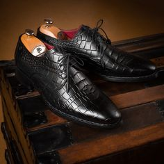 Paul Parkman Black Crocodile Embossed Calfskin Goodyear Welted Derby Shoes (ID Mens Derby Shoes, Men's Shoes, Dress Shoes, Kinds Of Shoes, Goodyear Welt, Winter Shoes, Luxury Shoes, Loafer, Crocodile