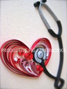 Quilled Stethoscope and A Heart - a great gift for a doctor or a nurse (^oo^)