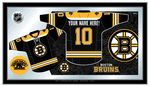 "Boston Bruins Jersey MirrorThe perfect way to show your team pride, our personalized jerseymirror displays your team's logo with your custom text across the backof the jersey, in a style that fits any setting. With it's simple butelegant design, colors burst through the 1/8"" thick glass and arehighlighted by the mirrored accents."