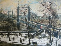 """'Albert Bridge, London' by Carel Weight, 1947. One of the """"Lyons Lithographs"""" series."""