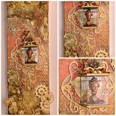 "8""x24"" elongated altered canvas https://www.zibbet.com/enchanted-revelries/steampunk-regal-lady-artifact-altered-elongated-canvas-handmade-ooak"