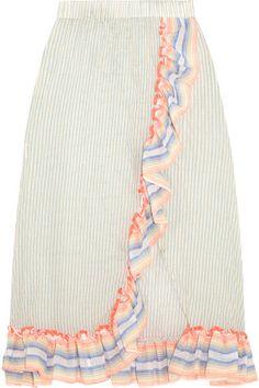 LemLem - Afia Ruffled Striped Cotton-blend Gauze Skirt - Sky blue