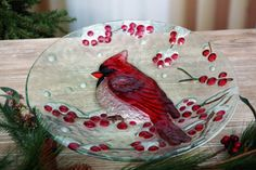 Homeport - Christmas Decor Fused-glass-look Cardinal Bowl Large - 44.99