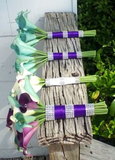17 piece Real Touch White Purple Tiffany Blue Calla Lily Bridal Bouquet Wedding Flower Set, Tiffany Blue Bouquet, Calla Lily Bouquet Bride