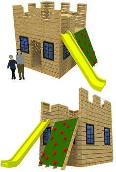 "The ""Fun Fortress"" castle playhouse plan. Both simple and engaging, kids will love to help build and play on this cool playhouse."