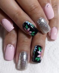 Nail Manicure, Toe Nails, Flower Nails, Spring Nails, Pretty Nails, Nail Art Designs, Acrylic Nails, Nailart, Nail Art