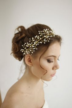 Aurelia Pearl wired wedding headpiece wedding by HoneyPieBridal