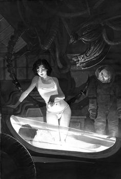 """Ilustração russa de cena de """"Alien, o Oitavo Passageiro""""."""
