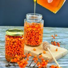 """seabuckthorn with honey in a jar. Seabuckthorn is named """"the immunity queen"""". Put it in a honey jar for a cold season without colds. (in Romanian) Side Recipes, Honey, Jar, Seasons, Vegetables, Cold, Queen, Side Dish Recipes, Seasons Of The Year"""