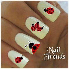 Ladybug Nail Decal 20 Vinyl Adhesive Decals Nail Tattoos Nail Art nail designs for summer french tip nail designs for short nails nail art stickers online nail appliques full nail stickers Love Nails, Pretty Nails, My Nails, Nail Art Sticker, Nail Decals, Nail Stickers, Fingernail Designs, Nail Art Designs, Ladybug Nail Art