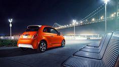 Orange Fiat 500e 2