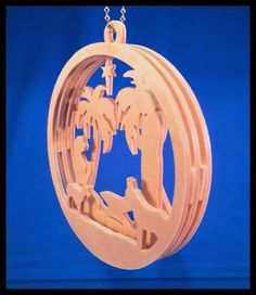 Timber laser cut Christmas ornament nativity.