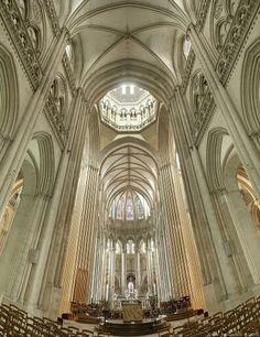 The interior of Coutances Cathedral (Cathédrale Notre-Dame de Coutances) Normandy , France
