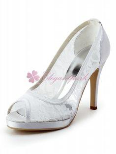 White Peep Toe Stiletto Heel Lace Platforms Evening Party/Bridal Shoes