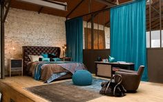 brown, turquoise cool bedroom space