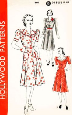 Vintage 1940s Hollywood Pattern 407