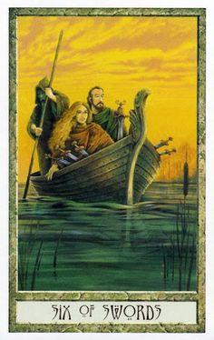 Nguy cơ Lá Six of Swords - Druidcraft Tarot bài tarot