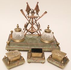 Alabaster and Mixed Metals Nautical Inkwell Desk Set | July 5, 2014 Auction at Rafael Osona Auctions Nantucket, MA
