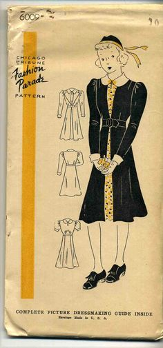 Vintage 1940's Chicago Tribune Fashion Parade Pattern 6009 Girl's Dress Sz 10   eBay