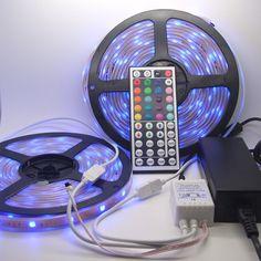 5M RGB LED Lichterkette Set mit Netzteil, 44-Tasten Fernbedienung und Controller Rgb Led, Color Changing Led, Led Lampe, Led Strip, Strip Lighting, Landline Phone, Remote, Digital, Color Change