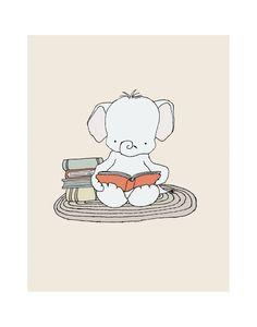 Elephant Art 11x14 Elephant Bookworm by SweetMelodyDesigns on Etsy, $20.00 Elephant Nursery Art, Baby Girl Elephant, Elephant Theme, Art Wall Kids, Art For Kids, Wall Art, Nursery Inspiration, Cute Illustration, Kids Decor