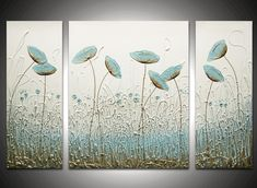 Image Detail for - Wisper Triptych - The Sculpture Room Glue Painting, Painting Edges, Diy Wall Art, Canvas Wall Art, Wall Art Decor, Hot Glue Art, Hand Art, Triptych, Flower Art