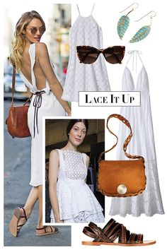 Your summer wardrobe starts with the little white dress. The sweetest takes involve lace details and look ultra-new when worn with caramel-colored sandals and bags.