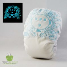 Classic Tron Inspired - Glow in the Dark One-size (OS) Pocket Cloth Diaper and Microfiber Insert