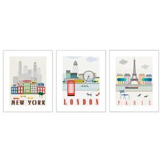 """Ikea TRILLING Poster, set of 3, London, Paris, New York $12.00 Article Number:402.340.83 Motif created by Sophie Ledesma. The motifs have a common theme so you can easily create a collage. Read more Size 15 ¾x19 ¾"""""""