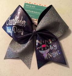 Cheerleader by Day Ninja by Night Black and Silver Iridescent Glitter Cheer Bow